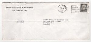 1960 USA Air Mail Cover SALT LAKE CITY to LONDON GB Slogan