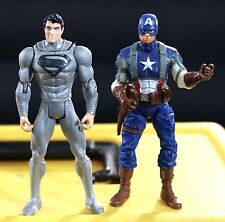 HASBRO CAPTAIN AMERICA & MATTEL DC COMICS SILVER SUPERMAN MAN OF STEEL FIGURE
