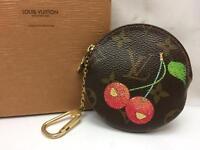 Auth Louis Vuitton Monogram Cherry Porte Monnaie Rond Coin Case 8G100030m*