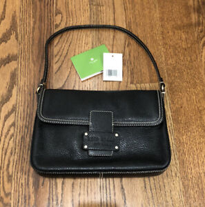 """KATE SPADE """"new canaan"""" large Bea leather black purse baguette bag y2k"""