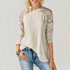 Fashion Womens Ladies Long Sleeve Shirt Lace Chiffon Casual Bowknot Blouse Tops 2xl