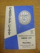 05/12/1967 Cardiff City v Millwall  (Creased, Folded, Worn, Marked & Writing Ins