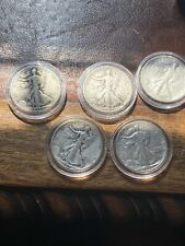 5 Silver Walker Half Dollar Coins In Capsules 1937-1945
