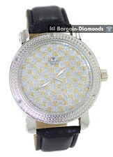 mens diamond silver watch gold white squares dial leather strap warranty maxx