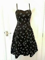 Fred Sun Black Lace Up Corset Dress Sweetheart Fit & Flare Cotton Party Prom 8