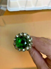 Vintage Hatpin Dome Shaped Large Green Stone Clean Rhinestones Nice and Low $$