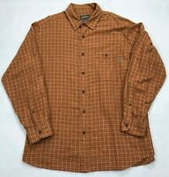 WoolRich Mens Long Sleeve Flannel Shirt   SIZE L  Orange Plaid