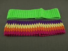 Green Multi 2 pack crochet headband soft Stretch kids girls childrens no metal