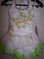 NWT Girls PERFECT ANGEL 1215 Pageant Dance Dress Gown White Lime Fiz Green 3T