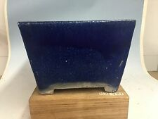Large Size 50-80 Yr Old Blue Glazed Canton Era Chinese Bonsai Tree Pot 10 7/8""
