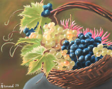 1997 STILL LIFE WITH BASKET AND GRAPE PASTEL PAINTING SIGNED