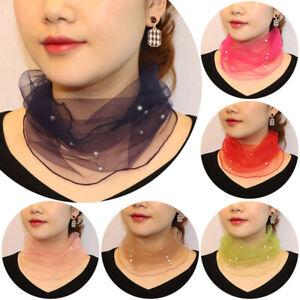 1pc Women Pearl Small Silk Neck Scarf Ladies Fashion Comfy Scarves