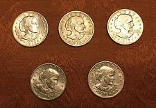 5 (Five) 1979 US Susan B Anthony $1 Dollar Coins - Silver Colored One Dollar SBA