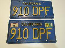 Set Pair 1970's California Metal License Plates 910 DPF Blue yellow DMV CLEAR