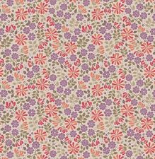FLORAL LEAVES IN PINK & MAUVE ON TEA BY LEWIS & IRENE - COTTON FABRIC FQ
