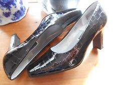 Women's Dress Heels by Caressa, Black Leather , Shiny Sz. 6.5 (M,B)