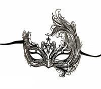 Maschera Di Venezia Di Lusso IN Pizzo Di Metallo Nero e Strass 1163 V59