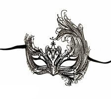 Masque de Venise de Luxe en Dentelle de Metal Noir et Strass  1163 V59