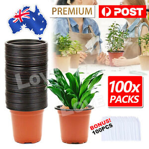 100PCS Plastic Plant Flower Rose Cactus Pots Nursery Pot Container & Plants Tags