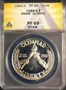 1988-S $1 Olympic Silver Dollar Proof 69 DCAM ANACS # 7269879 + Bonus