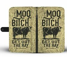 Funny Cow & Hay Phone Wallet Case Farmhouse Life Gift Idea For iPhone Samsung