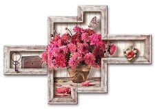 Quadro moderno Shabby Chic su 4 pannelli vaso di fiori fucsia   160 x 100 cm