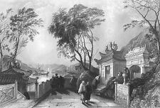 China, ANCIENT KUN IAM BUDDHIST TEMPLE MACAU  ~ Antique 1842 Art Print Engraving