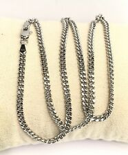 18k Solid White Gold Italian Flat Curb/Link Chain Necklace, 24 Inches, 9.27Grams