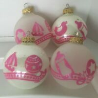 4 Christmas Ornaments Krebs Baby Girl Stencil Glass Ball Glitter Round Pink Vtg