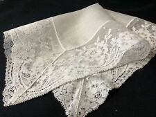 #6406🌟Vintage Wide French Lace Roses Linen Wedding Handkerchief Heirloom