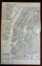 Manhattan NYC plan Brooklyn Hoboken Jersey City 1876-9 OW Gray fine large map