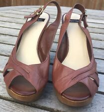 Bertie Brown Leather High Wedges Size 40 Beautiful Defect