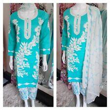 Turquoise white embroidery  Asian Ready Made Salwar pakistani shalwar kameez