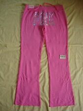 NWT Victoria's Secret Pink Varsity Sweat Flare Pants Bling L Silver Metalllic