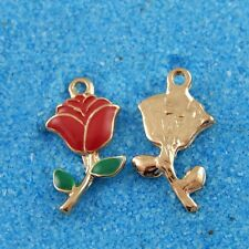 38928 Antique Gold Alloy Red Rose Flowers Pendants Charms Crafts Findings 5pcs