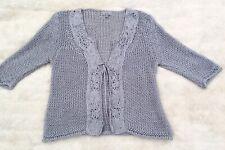PER UNA Grey crochet knit open tie front cardigan L 16 - 18