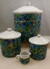 1966 Retro HH Blue Floral Canister Set and Cream Pitcher