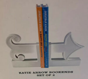 Jonathan Adler Bookends Happy Chic Katie White Arrow Book Ends NIB New