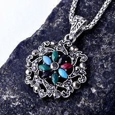 Womens Gold plated Multi-Color Zirconia Cubic Stone Heart Pendant Necklace