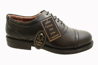 Mens Black Leather Toe Cap Lace Formal Work Wide Shoes Size 6 7 8 9 10 11 12 14
