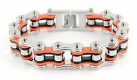 Men's Biker Stainless Steel Black Orange Silver Bike Chain Bracelet USA Seller!