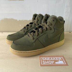 Nike Court Borough Mid Winter Olive Canvas Shoes Boots Size 5.5Y (AA3458-300)
