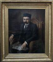 FRENCH 19thC ORIENTALIST ART PORTRAIT OIL PAINTING TURKISH MAN READING NEWSPAPER