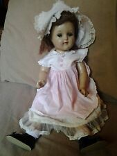 "Antique 20"" Jointed Composition Girl Doll-Hazel Glass Sleep Eyes-Orig. Hair"
