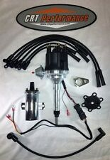 small cap CHEVY INLINE 6 Cylinder 235 Black HEI Distributor, Chrome Coil + Wires