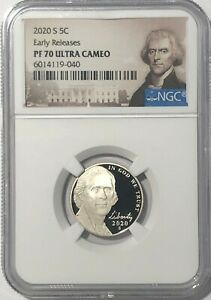 2020 S NGC PF70 EARLY RELEASE PROOF JEFFERSON NICKEL ULTRA CAMEO 5c 5 CENT