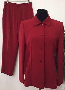 Tahari Women's Career Red 100% Polyester 2 Piece Pant Suit Size10P EUC.