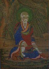 Large Korean Joseon Dynasty MinHwa Folk Hand Painting SanShin on Cotton