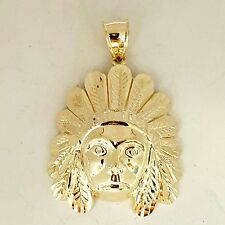 10k yellow solid Gold Indian face head Pendant 1.50 inches top to bottom 6.20g