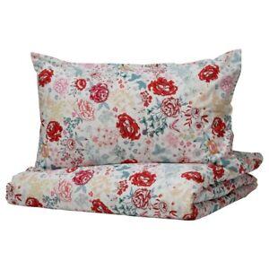 Ikea Lundslok Floral Quilt Duvet Cover & Pillowcases Set, 100% cotton